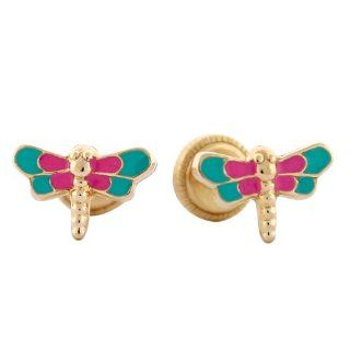 14k Yellow Gold Pink and Green Enamel Firefly Baby Earrings Jewelry