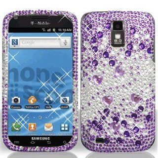 Samsung Galaxy S2 S 2 SII S II Hercules T989 T 989 Cell Phone Full Crystals Diamonds Bling Protective Case Cover Silver and Purple Mix Love Hearts Gemstones Design Cell Phones & Accessories