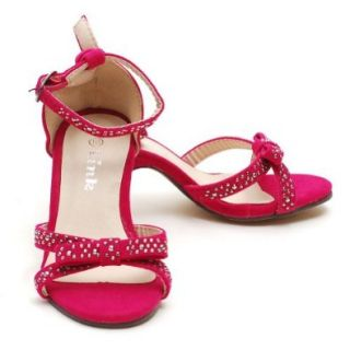 Link Fuchsia Toddler Girls 9 Rhinestone Bow Heel Dress Pageant Shoes Forever Link Shoes