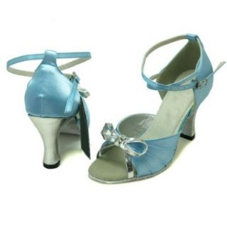 Colorfulworldstore Silver Bow Sky blue satin of Ladies Ballroom Latin dance shoes(EU36~EU41) Shoes