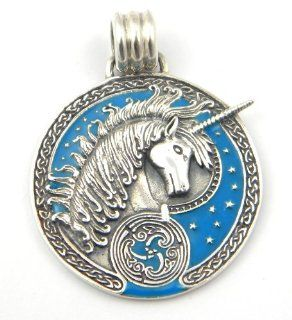 Sterling Silver Celtic Unicorn Charm Pendant Horse Bright Blue Inlay Jewelry
