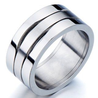 Exquisite Mens Stainless Steel Wide Band Ring Matt Polished Two Tone 10mm Jewelry