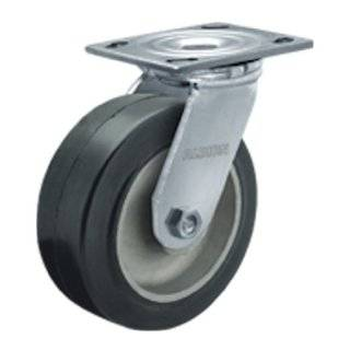 "Albion 16 Series 4"" Diameter Moldon Rubber on Aluminum Wheel Medium Heavy Duty Zinc Plate Swivel Caster, Roller Bearing, 4 1/2"" Length X 4"" Width Plate, 300 lbs Capacity (Pack of 4)"