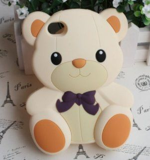 3D Cute Teddy Bear Soft Rubber Back Case Cover Skin For Apple iphone 4 4g 4s 4th Cell Phones & Accessories
