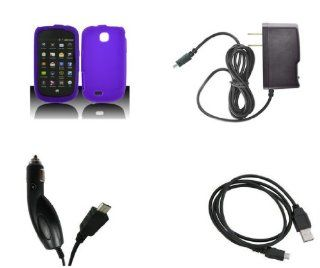 Samsung Dart (T Mobile) Premium Combo Pack   Purple Silicone Soft Skin Case Cover + FREE Atom LED Keychain Light + Wall Charger + Car Charger + USB Cable Cell Phones & Accessories