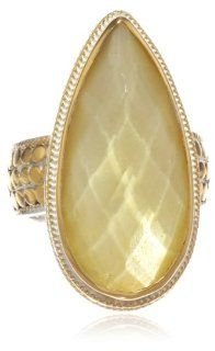 "Anna Beck Designs ""Flores"" 18k Gold Plated Citrine Drop Ring Jewelry"