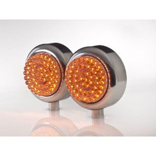 Amber 48 LED Motorcycle Turn Signal, Marker or Blinker Lights in Side Mount Polished Aluminum Housings Automotive