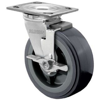 "Albion 16 Series 6"" Diameter Polyurethane on Polypropylene Wheel Medium Heavy Duty Zinc Plate Swivel Caster with Face Brake, Roller Bearing, 4 1/2"" Length X 4"" Width Plate, 900 lbs Capacity (Pack of 4)"
