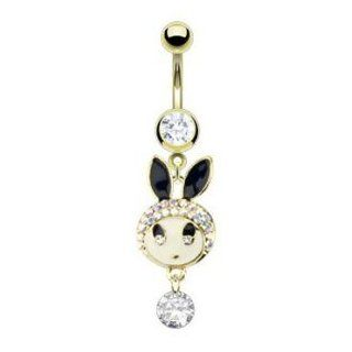Gold IP Over 316L Surgical Steel Belly Navel Ring with Multi Paved Cz Toki Bunny Dangle Jewelry