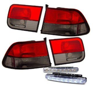 1996 2000 HONDA CIVIC 2 DOOR TAIL LIGHTS JDM REAR BRAKE LED LAMPS+DRL BUMPER FOG Automotive