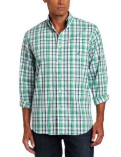 Nautica Men's Poplin Long Sleeve Plaid Woven Shirt, Parrot Green, Medium at  Men�s Clothing store