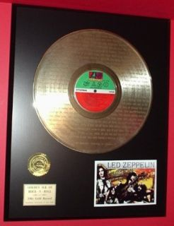 "Led Zeppelin Gold LP Record W/Lyrics Display Actually Plays ""Stairway To Heaven"" Entertainment Collectibles"