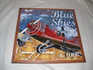 Theres Always Blue Skies Above the Clouds Airplane Wooden Wall Art Sign   Childrens Room Signs