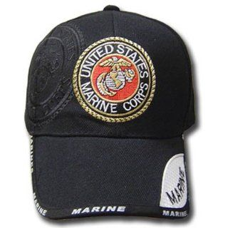 UNITED STATES MARINE CORPS SEAL BLACK CAP HAT ADJ NEW  Sports Fan Baseball Caps  Sports & Outdoors