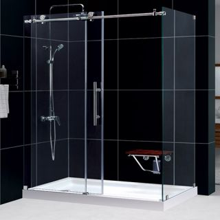 Dreamline SHEN613460008 Shower Enclosure, 34 1/2 by 60 3/8 EnigmaX Fully Frameless Sliding, Clear 3/8 Glass Polished Stainless Steel