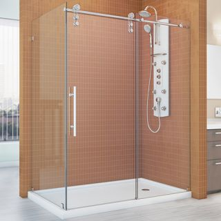 Dreamline SHEN623448008 Shower Enclosure, 34 1/2 by 48 3/8 EnigmaZ Fully Frameless Sliding, Clear 3/8 Glass Polished Stainless Steel