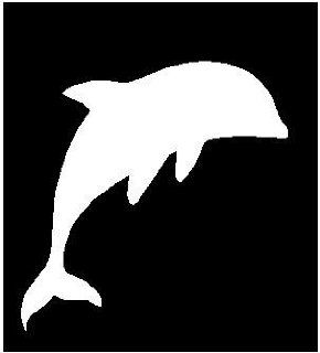 "2"" DOLPHIN WHITE reflective vinyl decal sticker for any smooth surface such as hard hats helmet windows bumpers laptops or any smooth surface."