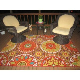 Shaw Al Fresco Medallions Indoor/Outdoor Rug, 5 Feet 3 Inch by 7 Feet 10 Inch, Red   Area Rugs