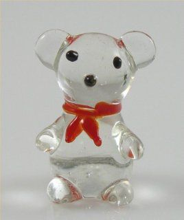 Teddy Bear Glass Miniature Figurine, Clear w/ Red Bow Tie Approximately 1 Inch Tall   Collectible Figurines