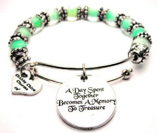 A Day Spent Together Becomes a Memory to Treasure Lime Green Glass Beaded Bangle Adjustable Bracelet Jewelry