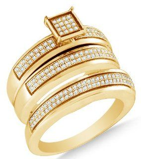 Yellow Gold Plated 925 Sterling Silver Two Rows Micro Pave Set Round Brilliant Cut Diamond Mens and Ladies Couple His & Hers Trio 3 Three Ring Bridal Matching Engagement Ring Wedding Band Set   Square Princess Shape Center Setting   (.48 cttw.)   SEE &
