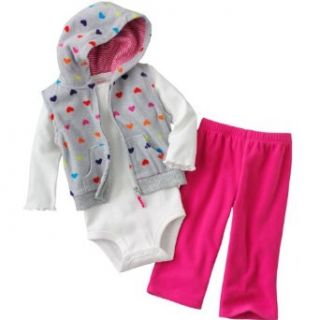 "Carter's Girls ""Cuddly Cute Combo"" 3 piece Cotton/Polyester Micro Fleece Hooded Vest, Bodysuit and Pants Set   Colorful Hearts (18 Months) Clothing"