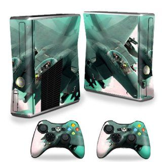 MightySkins Protective Vinyl Skin Decal Cover for Microsoft Xbox 360 S Slim + 2 Controller Skins Sticker Skins Fighter Jet Video Games