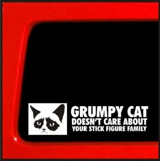 Grumpy Cat sticker Doesn't Care About Your Stick Figure Family funny decal sticker meme Automotive