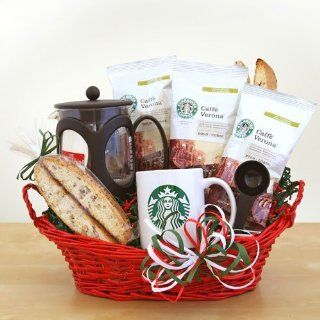 Starbucks Italian Gift Basket Valentines Gift Idea for Him Birthday Gift Idea Get Well Basket  Gourmet Coffee Gifts  Grocery & Gourmet Food