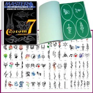 Master Airbrush� Brand Airbrush Tattoo Stencils Set Book #7 Reuseable Tattoo Template Set, Book Contains 100 Unique Stencil Designs, All Patterns Come on High Quality Vinyl Sheets with a Self Adhesive Backing. Beauty