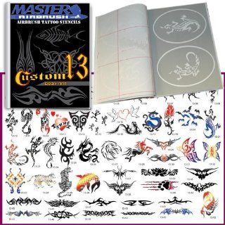 Master Airbrush� Brand Airbrush Tattoo Stencils Set Book #13 Reuseable Tattoo Template Set, Book Contains 53 Unique Stencil Designs, All Patterns Come on High Quality Vinyl Sheets with a Self Adhesive Backing.