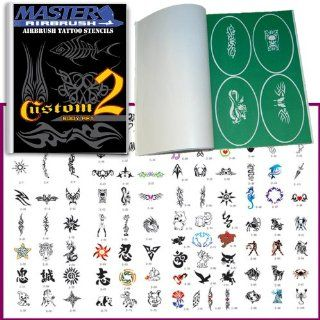 Master Airbrush Brand Airbrush Tattoo Stencils Set Book #2 Reuseable Tattoo Template Set, Book Contains 100 Unique Stencil Designs, All Patterns Come on High Quality Vinyl Sheets with a Self Adhesive Backing.