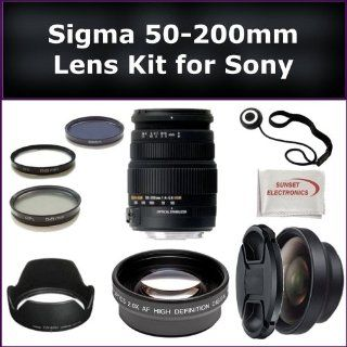 Sigma 50 200mm f/4 5.6 DC OS HSM High Performance Telephoto Zoom Lens Kit For Sony Alpha A580, A560, A700, A900 Digital SLR Cameras. Package Includes Sigma 50 200mm Lens, 0.45X Wide Angle Lens, 2X Telephoto Lens, Lens Cap, Lens Hood, Lens Cap Keeper, 3 Pi