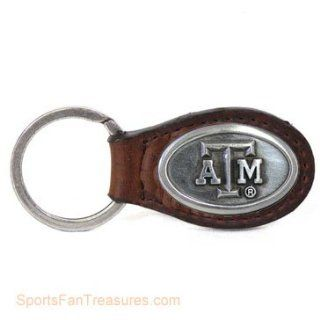 Texas A   M Brown Leather Key Ring   Fob  Sports Fan Keychains  Sports & Outdoors