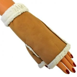 Luxury Divas Tan Fingerless Glove Arm Warmers With Faux Shearling Fur Trim