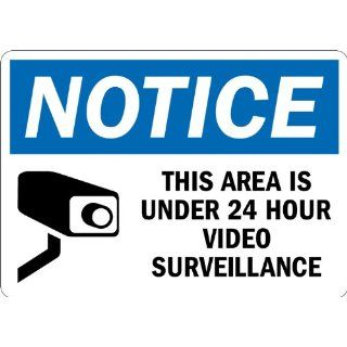 "SmartSign 3M Engineer Grade Reflective Sign, Legend ""Notice Area is Under 24 Hour Video Surveillance"" with Graphic, 7"" high x 10"" wide, Black/Blue on White Industrial Warning Signs"