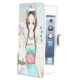 Cartoon Girl Pattern PU Leather Full Body Case for iPhone 5/5S  Cell Phone Carrying Cases  Sports & Outdoors