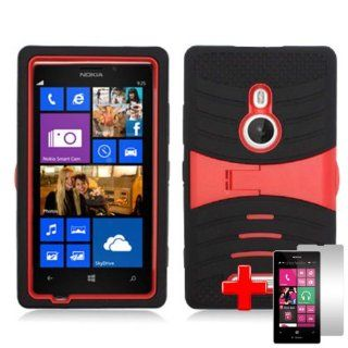 Nokia Lumia 925 (T Mobile) 2 Piece Silicon Soft Skin Hard Plastic Kickstand Shell Case Cover, Red/Black + LCD Clear Screen Saver Protector Cell Phones & Accessories