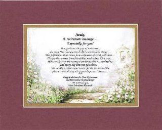 [Personalized Poem for Retirement] A Retirement Message Especially For You . . .Poem on 11 x 14 inches Double Beveled Matting (Burgundy)   Prints
