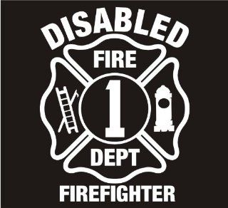 "Firefighter Decals Disabled Firefighter Maltese Cross Decal Sticker Laptop, Notebook, Window, Car, Bumper, EtcStickers 4""x5.2""in. in WHITE Exterior Window Sticker with"