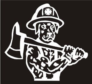 "FIREFIGHTER DECALS Dalmation Dog With Axe Animal Pet Decal Sticker Laptop, Notebook, Window, Car, Bumper, EtcStickers 4""in. in WHITE Exterior Window Sticker with"