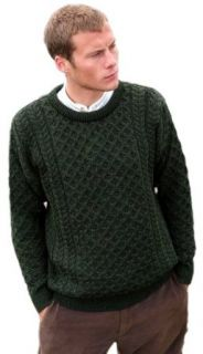 Aran Crafts Men's Merino Crew Neck Sweater Green at  Men�s Clothing store Pullover Sweaters
