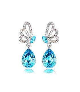 "Adaliz Versaille Magic Ocean Collection, ""The Song of Aspen's Butterfly "" Swarovski Austrian Aspen mountain Spring Drop Sapphire blue Diamond shine Crystal 925 Argentinian Sterling Silver Earrings for Your Miss Special; Ultimate Elegance and"