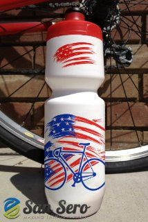 Bike Waterbottle  100% BPA Free   26oz Size with cool American Flag /Stars & Stripes Design Motif. Made using the award winning Purist waterbottle from Specialized Bikes   Made in the USA. Lifetime taste & leak guarantee that gives a glass like ta