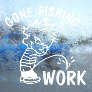 Funny Gone Fishing White Decal Car Window Laptop White Sticker   Themed Classroom Displays And Decoration