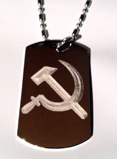 Hammer and Sickle Ussr Former Soviet Union Flag Logo Symbols   Military Dog Tag Luggage Tag Key Chain Keychain Metal Chain Necklace