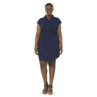 Pure Energy Womens Plus Size Utility Shirt Dress   Navy 2X
