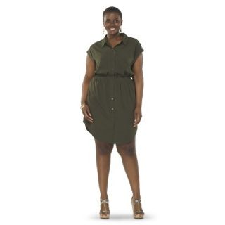 Pure Energy Womens Plus Size Utility Shirt Dress   Green 2X