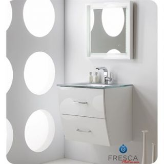 Fresca Platinum Wave 24 Glossy White Modern Bathroom Vanity