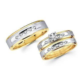 .18ct Diamond 14k Two Tone Gold Engagement Wedding Trio His and Hers Ring Set (HI, I1) Jewelry